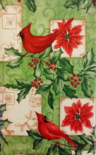 "Christmas Cardinals vinyl flannel back tablecloth 52"" x 90"""