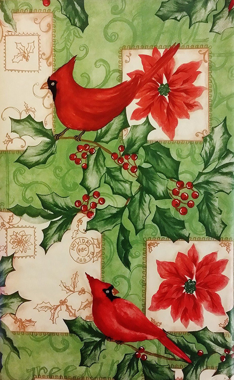 Christmas Cardinals vinyl flannel back tablecloth 52
