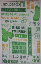 St Patrick's Day Irish Sentiments Sayings vinyl flannel back tablecloth 60 round