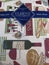 Elrene Bistro Vinyl Flannel Back Tablecloth 52 x 70 Wine Bread