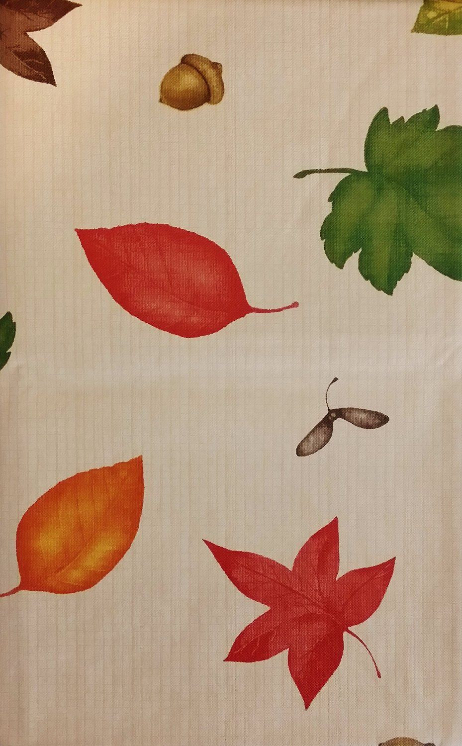 Autumn Leaves on a Wooded Backdrop Vinyl Flannel Back Tablecloth Various Sizes