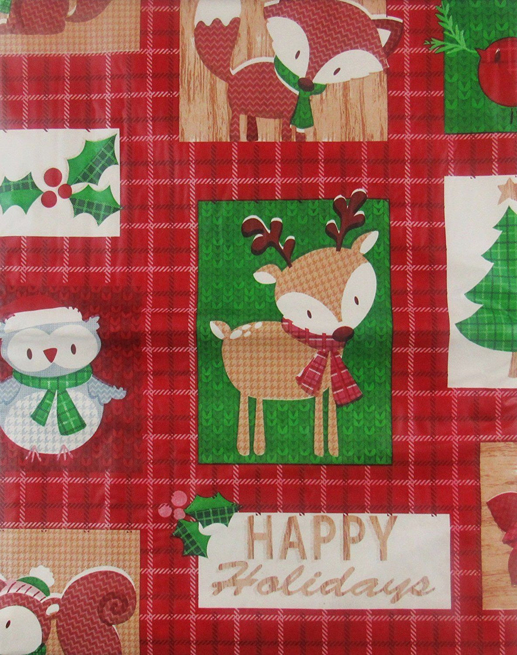 Christmas Woodland Creatures vinyl flannel back tablecloth 60