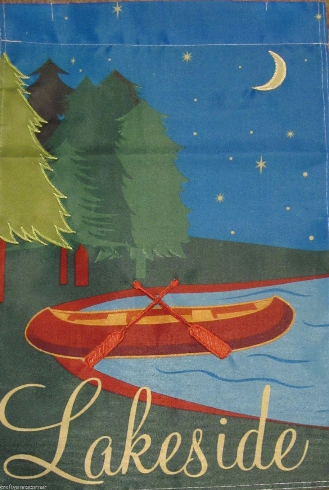 Lakeside Canoe Trees Night Moon Lake Mini Garden Flag 12 x 18