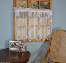 Seashells Starfish Lace Coastal Ivory Kitchen Curtain 24L Tier Set