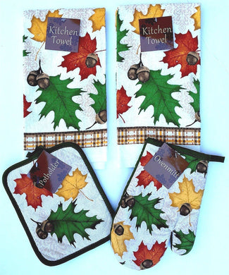 Autumn Fall Leaves Acorns 4 pc kitchen towels potholder oven mitt set