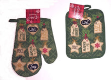 Christmas Kitchen Towel Oven Mitt Potholder Peace Love Joy Let It Snow 3 pc Set