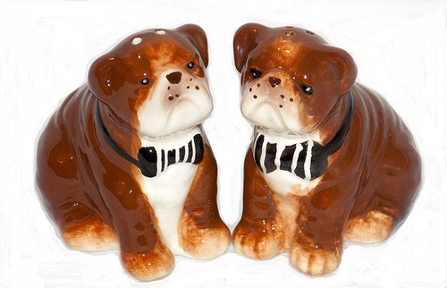 American Atelier British Bulldog Dog Ceramic Salt and Pepper Shaker Set