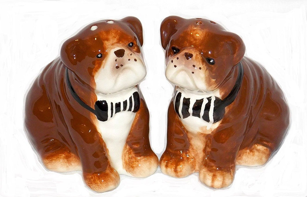 Atelier British Bulldog Dog Ceramic Salt and Pepper Shaker Set