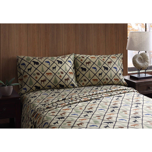 Twin Sheet Set Wilderness Retreat Woodland Cabin Lodge Bear Deer Remington