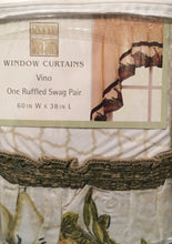 Vino Sage Wine Bottles Tuscan Kitchen Curtain Tier Set Valance or Swags Chef