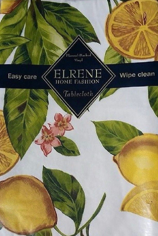 Elrene Lemon Zest vinyl flannel back tablecloth 52