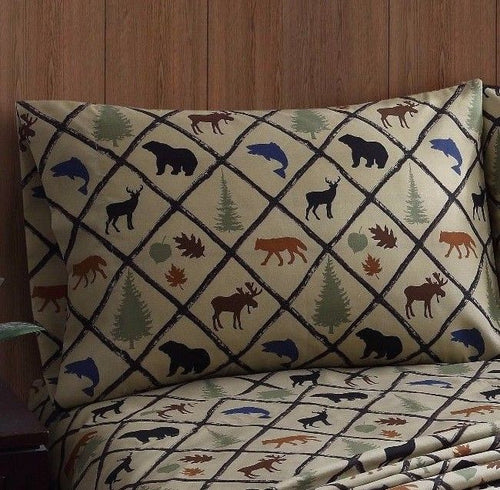 Pillowcases Wilderness Retreat Woodland Cabin Lodge Bear Deer Remington Set of 2