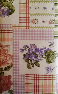 Pink Roses and Violets Floral Patchwork Vinyl Flannel Back Tablecloth 60