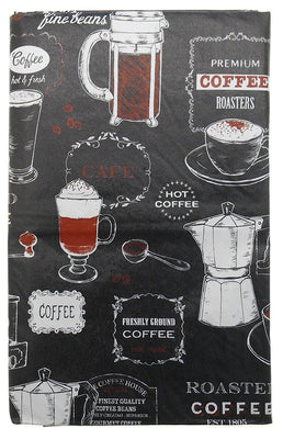 Coffee House Barista Black vinyl flannel back tablecloth 60 Round