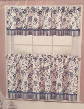 "EHS Sabrina Blue White Floral 36"" Tier and Valance Set"