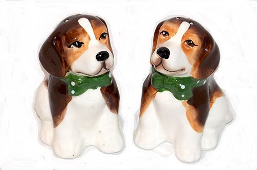 American Atelier Beagle Dog Ceramic Salt and Pepper Shaker Set