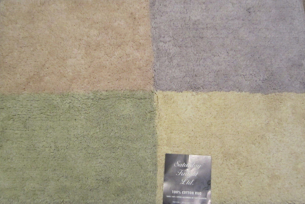 Saturday Knight Color Block Green Yellow Lilac Bath Mat Rug
