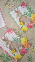 Easter Bunnies and Butterflies on Burlap Vinyl Flannel Backed Tablecloth 60rd