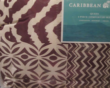 Caribbean Joe Caribe Brown Reversible Microfiber 4 Piece Queen Comforter Set