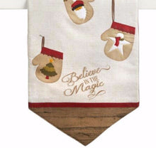 "Holiday Table Runner Believe in the Magic Stockings Tan 13"" X 36"""