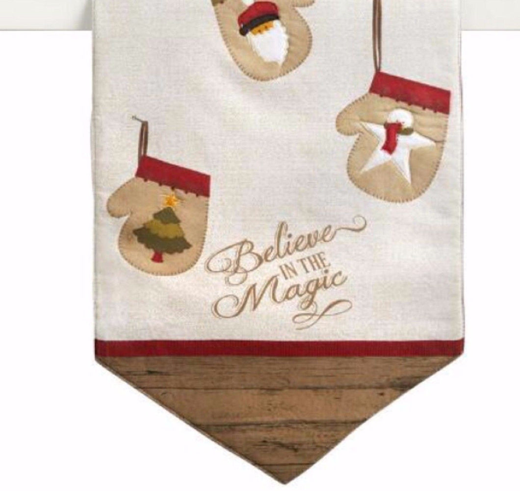 Holiday Table Runner Believe in the Magic Stockings Tan 13