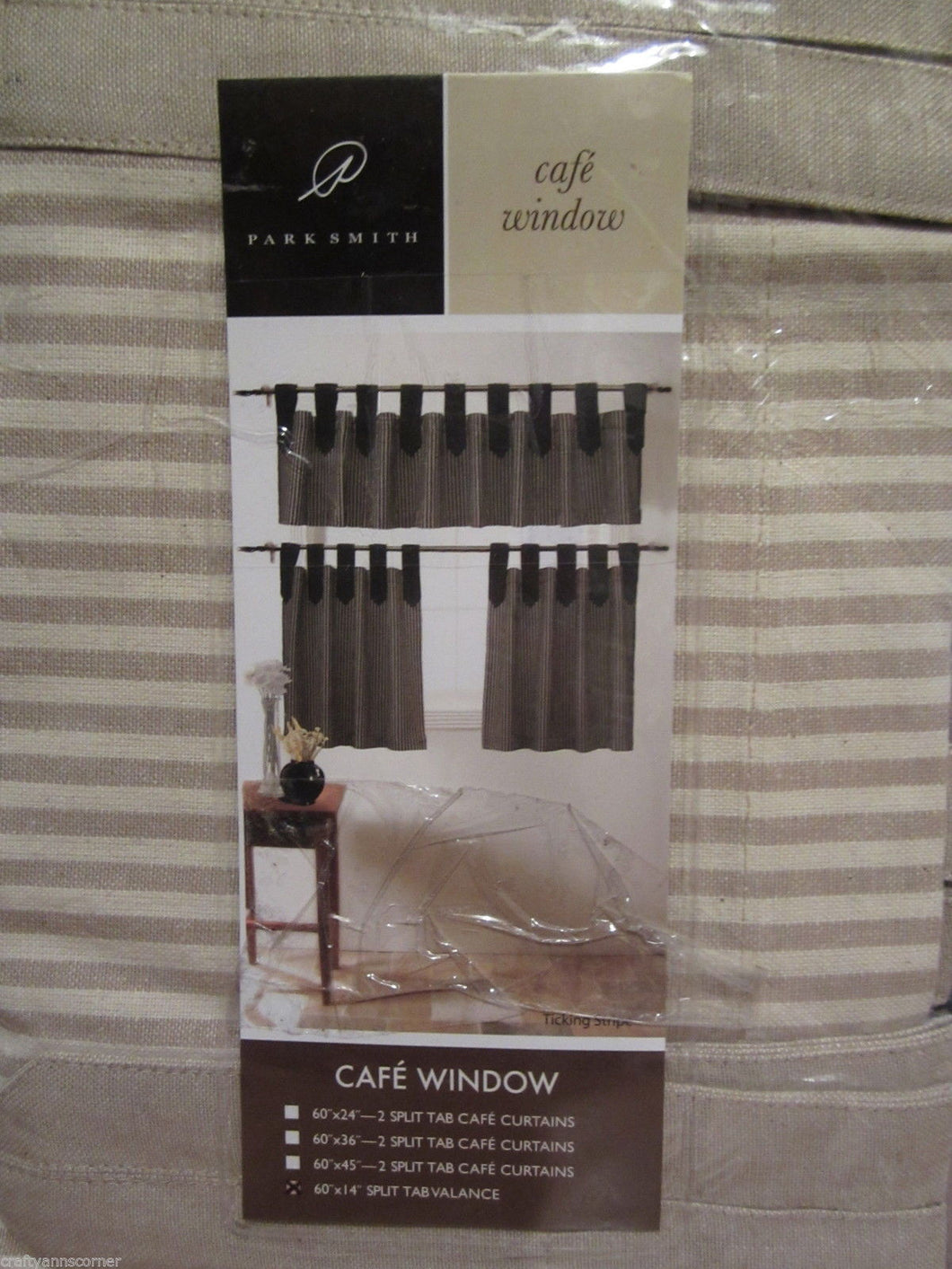 Park Smith Ticking Stripe Linen Tan Natural Kitchen Curtain Split Tab Valance