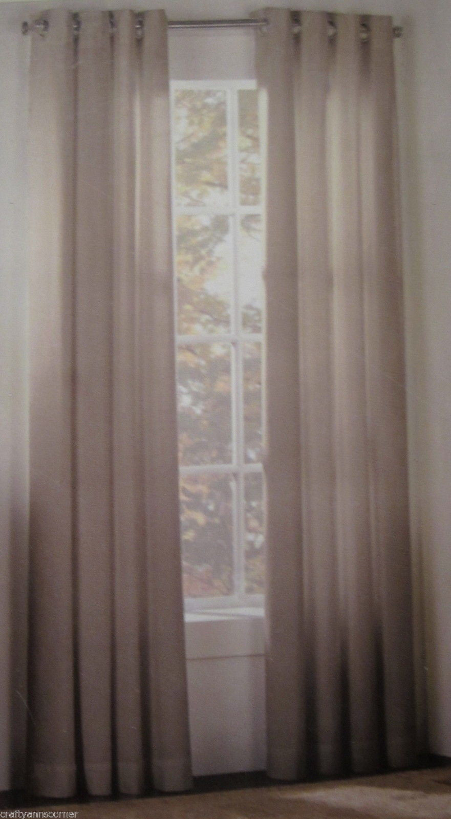 Henley Cambridge Grommet Beige Natural 63L Panels Curtains Set of 2