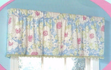 Fox Trot Blue Pink Pretty Floral Valance Curtain 60 x 17