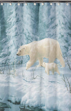 Artic Arrival Polar Bears Fabric Shower Curtain