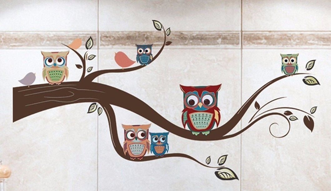 Die Cuts With A View Home Peel and Stick Wall Art Owls an a Swirly Branch