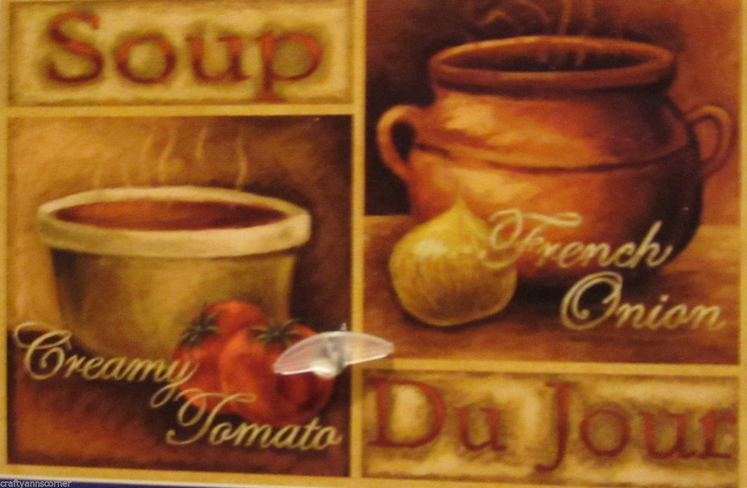 Soup Du Jour Creamy Tomato French Onion Tapestry Kitchen Mat Rug 19 x 27 Natco