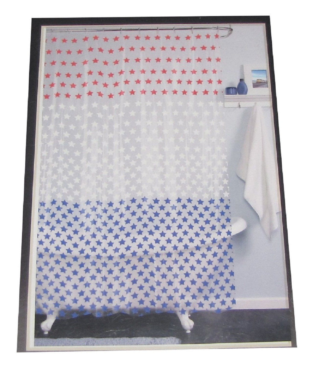 India Ink Americana Patriotic Red White Blue Stars Shower Curtain