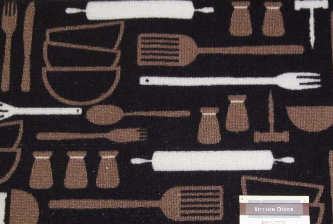 Cutlery Chef Black White Brown Fork Knife Spoon Kitchen Mat Accent Rug 18 x 30