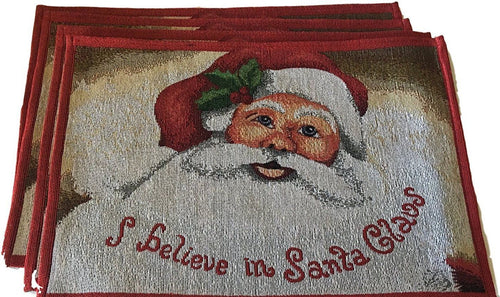 Holiday I Believe In Santa Claus Tapestry Placemat Set of 4