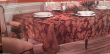 Tablecloth Autumn Harvest Bronze Tone on Tone Leaf Damask Fabric 70 Round