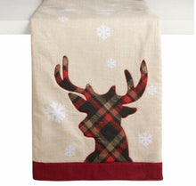 "Applique Table Runner Tartan Plaid Reindeer 13"" X 36"""