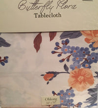 Butterfly Flora floral Fabric Tablecloth 52 x 70 Oblong