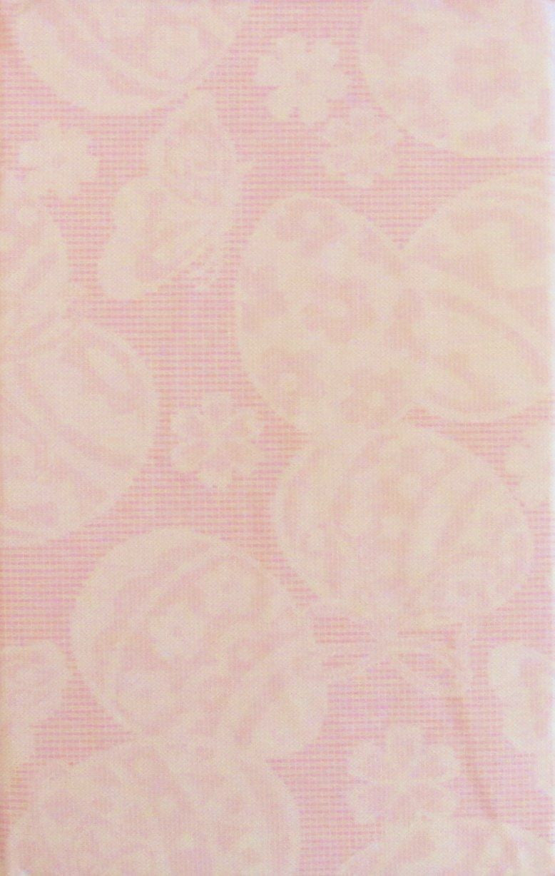 Pink Lace Butterflies Flowers Easter Eggs vinyl flannel back tablecloth 60 round