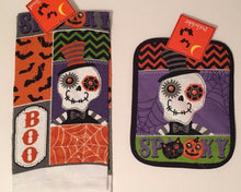Halloween Spooky Sugar Skull 2 pc kitchen towel potholder set