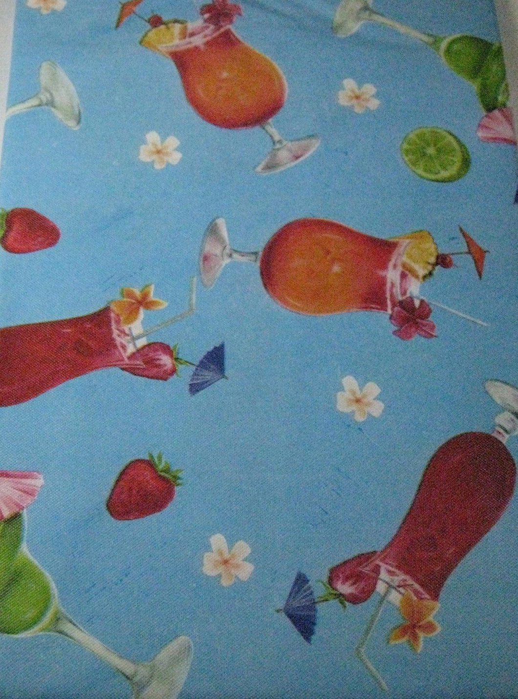 Elrene Summer Fun Tropical Drinks Vinyl Flannel Backed Tablecloth 52 x 90 Oblong
