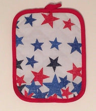 Americana Patriotic Stars and Stripes Flag 3 pc kitchen towels potholder set