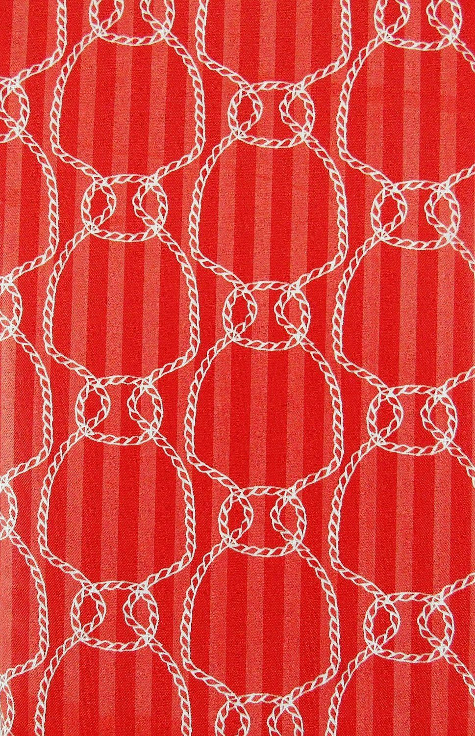 Elrene Red Nautical Ropes Vinyl Flannel Back Tablecloth 52