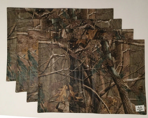 Realtree Ap Camo Camouflage Peva with Flannel Lining Placemats Set of 4