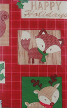 "Christmas Woodland Creatures vinyl flannel back tablecloth 60"" Round"