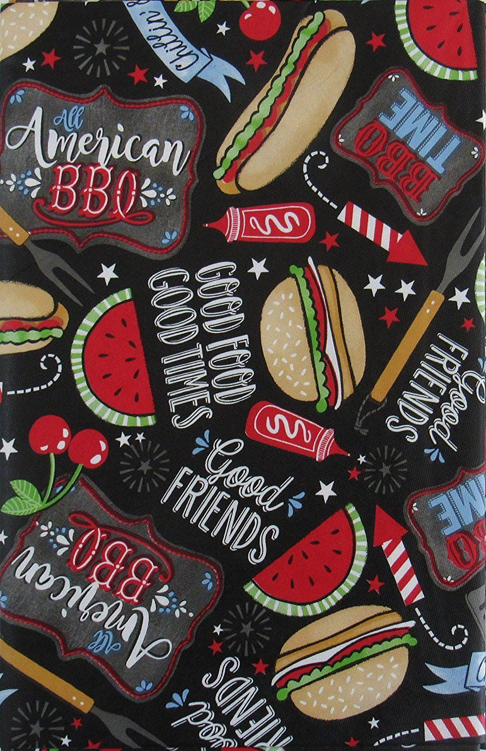 American BBQ Patriotic Chillin Grillin Vinyl Flannel Back Tablecloth 60 Round