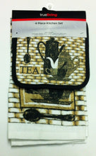 Coffee Tea black white tan 2 dish towels 2 potholders 4 piece set