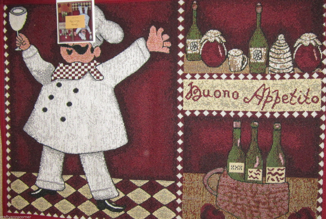 Tapestry Rug Red Buono Appetito Fat Chef Wine 19 x 27 Rectangle