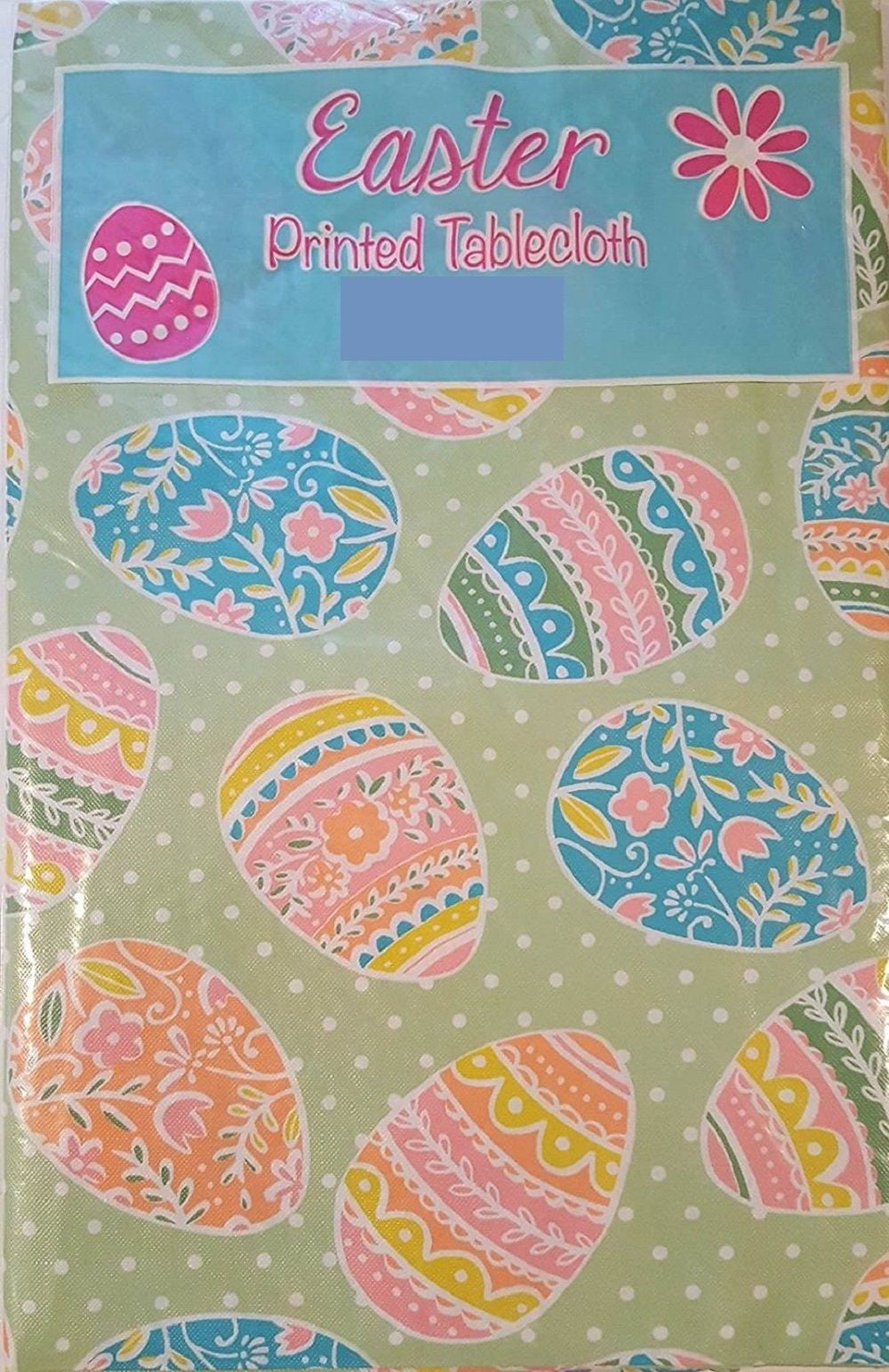 Pastel Colored Easter Eggs on Green Vinyl Flannel Backed Tablecloth 60 rd