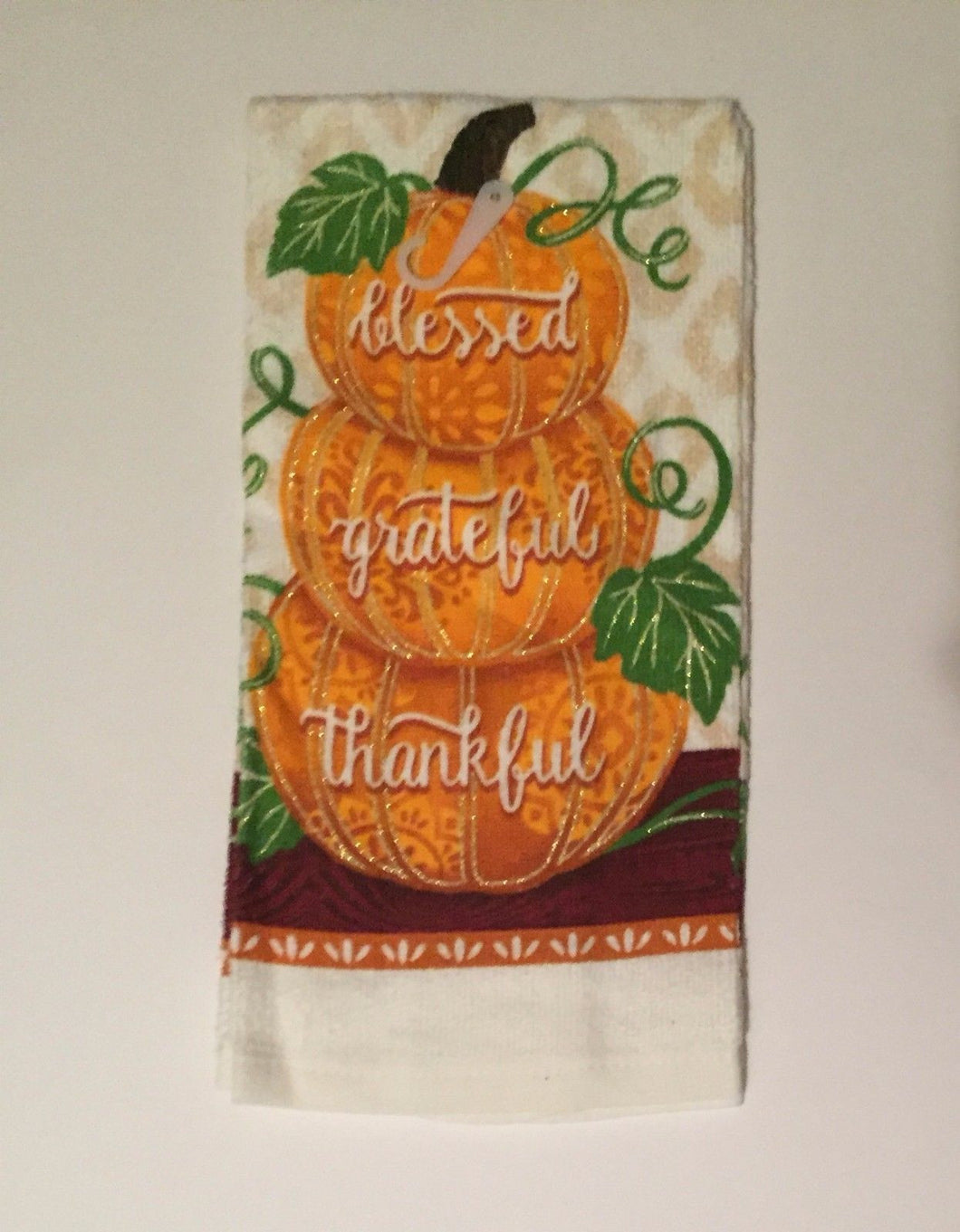 Blessed Grateful Thankful Pumpkins Fall Autumn Set of 2 kitchen towels