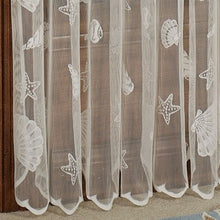 Seashells Starfish Coastal Nautical Lace Ivory Curtains Set of 2 63L Panels